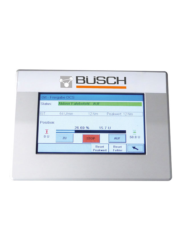 Touch panel (internally) - for parameter setting, setup, operation and status monitoring (actual position/torque)